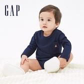 Gap嬰兒 簡約風格小熊刺繡長袖包屁衣 663830-海軍藍