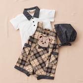 【金安德森】春夏彌月禮盒-領結熊經典格吊帶褲+POLO衫