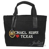 茱麗葉精品【下殺低價】MICHAEL KORS CITY TEXAS 小款 帆布子母手提購物包.黑