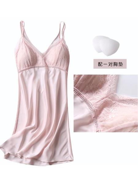 冰絲吊帶睡裙睡衣女夏性感露背情趣薄款寬鬆帶胸墊蕾絲鏤空家居服