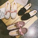 平底包鞋.甜美保暖蝴蝶結緞帶鋪棉豆豆鞋.白鳥麗子