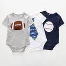 短袖包屁衣 棒球/橄欖球/領帶 棉質包屁衣 嬰兒服 XE2149 好娃娃