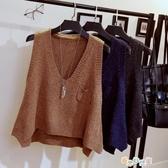 毛衣馬甲女短款春裝新款韓版V領坎肩毛線背心無袖針織衫外套 交換禮物