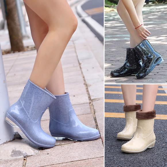 韓版春秋夏雨鞋女保暖加絨雨靴女士膠鞋中筒水靴水鞋短筒防滑套鞋 智聯