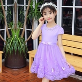 女童洋裝 超洋氣夏季2020新款韓版公主裙蓬蓬紗兒童純棉短袖裙子