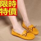 豆豆鞋女鞋子-真皮平底蝴蝶結時尚套腳休閒鞋6色65l4【獨家進口】【米蘭精品】