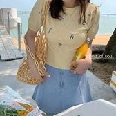 小雯法代 maje 夏新款短款顯瘦溫柔粉冰絲針織衫套頭上衣女N2F-A10-A胖妞衣櫥