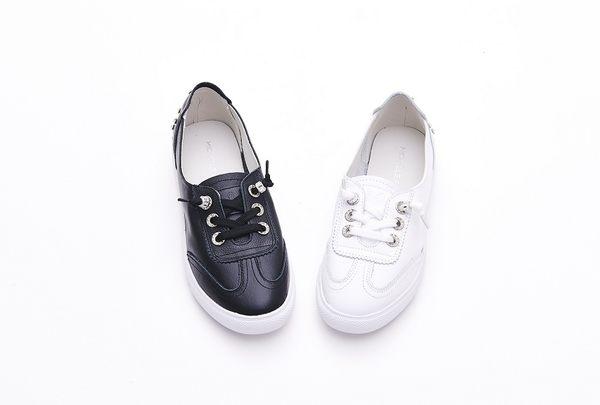 MICHELLE PARK 淨色彈性鬆緊帶釦飾水鑽真皮休閒鞋-白