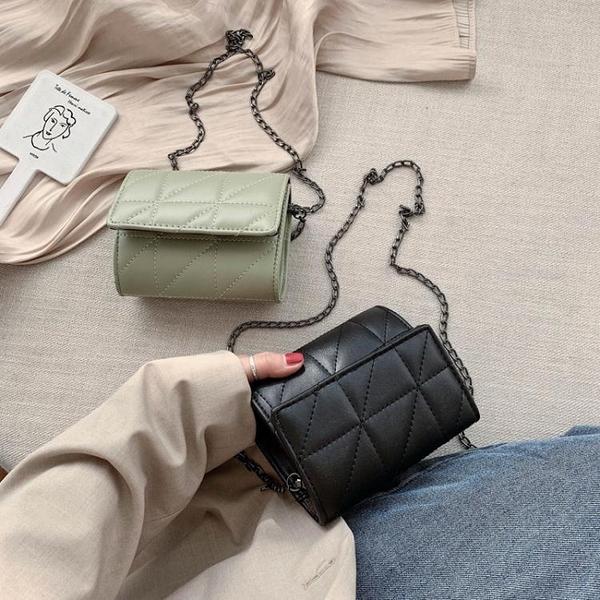 時尚女包 上新小包包女包2020新款潮韓版簡約百搭時尚菱格鏈條單肩包斜挎包 叮噹百貨