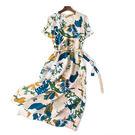 重磅加厚桑蠶絲雙縐粉藍色印花V領長裙真絲洋裝/設計家分店