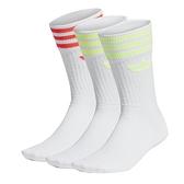 Adidas Solid Crew Sock 紅白綠 三葉草 中筒襪 3雙入 FM0625