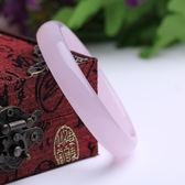玉器手鐲 天然水晶粉玉髓手鐲窄款 精品時尚粉色水晶手鐲 全館免運