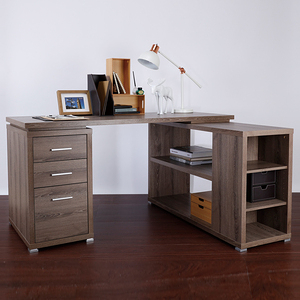 康迪仕複合式電腦書桌 深木色款 採E1板材