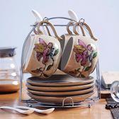 4杯4碟手繪咖啡杯套裝個性陶瓷咖啡杯碟整套創意家用咖啡杯子套具梗豆物語