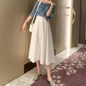 夏季半身裙中長款適合胯大腿粗的裙子2019新款女白色高腰a字裙子