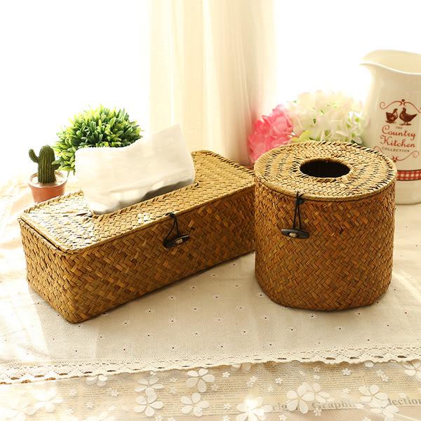 手工草編紙巾盒車載抽紙盒餐巾盒洗手間複古編織紙巾收納盒圓形長方形紙巾盒預購CH2156