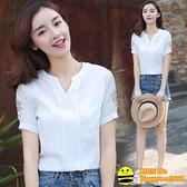 2021夏裝新款V領復古襯衫女短袖寬鬆顯瘦遮肚刺繡T恤亞麻棉麻上衣 happybee