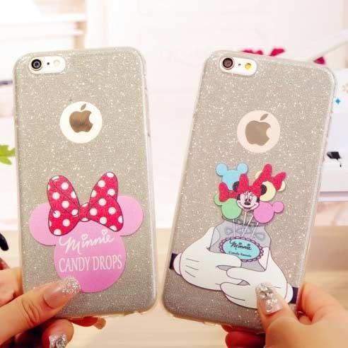 蘋果iphone6卡通手機殼6s plus保護套ip6軟殼超薄TPU 閃粉米妮
