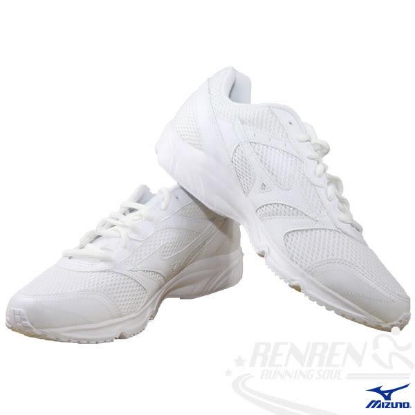 MIZUNO 美津濃 全白運動鞋MAXIMIZER 18 寬楦慢跑鞋(白) 開學季學生鞋 男女適用