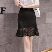 工廠直銷不退換~實拍1860春夏款蕾絲包臀半身裙女不規則荷葉邊魚尾裙子GT523紅粉佳人