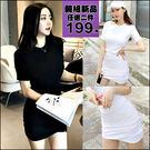 克妹Ke-Mei【AT46871】獨家,歐美單!心機系下擺皺摺顯瘦U領連身洋裝
