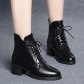 粗跟馬丁靴女2021秋冬新款英倫風系帶拉鏈短靴中高跟韓版百搭棉靴 百分百