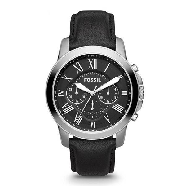 FOSSIL Grant 黑色皮革計時手錶 男 FS4812