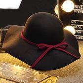 造型帽女黑色復古大檐帽毛呢帽子女