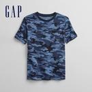 Gap男童 時尚迷彩圓領短袖T恤 687360-藍色迷彩