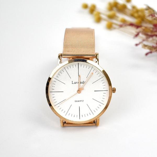 韓國手錶 LAVENDA線條時刻玫金米蘭錶NEKL16