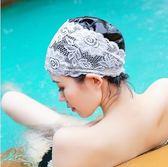 成人防水大不勒頭時尚溫泉蕾絲游泳帽PLL3000【男人與流行】