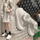 氣墊鞋厚底小白鞋女氣墊2021年春秋季新款內增高百搭水鉆運動板鞋夏 芊墨 618大促