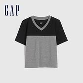 Gap女裝 純棉時尚撞色V領短袖T恤 826166-灰色