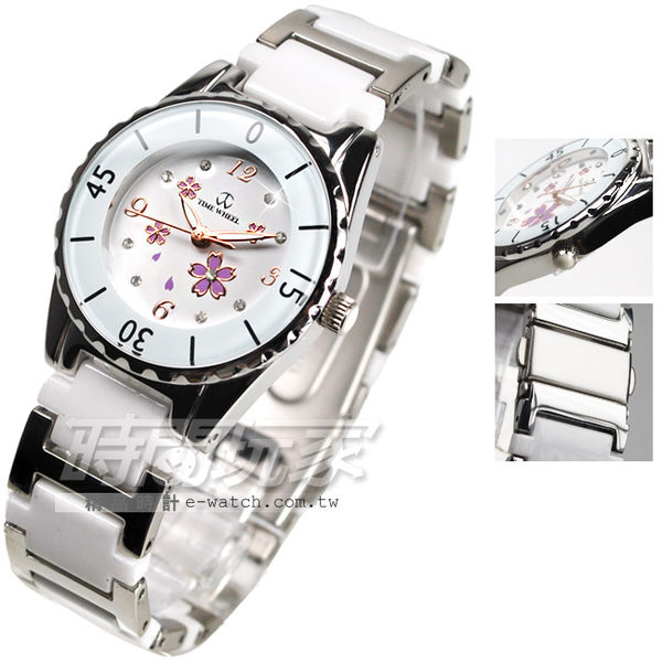 TIME WHEEL 櫻花點綴設計 白色 陶瓷錶 女錶 陶瓷錶 鑽錶 TW052紫櫻白小