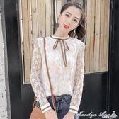 蕾絲上衣 夏季新款時尚小清新長袖防曬洋氣蕾絲衫chic荷葉邊甜美鏤空上衣女 瑪麗蓮安
