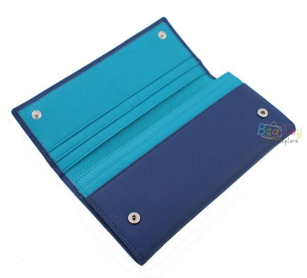 SCORPIO 撞色牛皮長夾(S14N007A02E1-藍配綠)