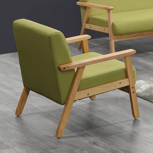 【森可家居】亞克一人座綠色布沙發 8ZX513-7 單人椅 淺色架