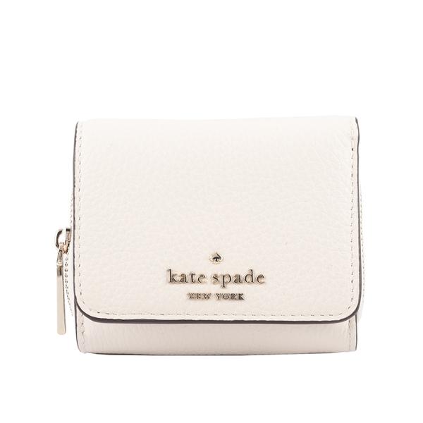 【KATE SPADE】Leila 荔枝皮革拉鍊零錢袋三折短夾(白色) WLR00399 108