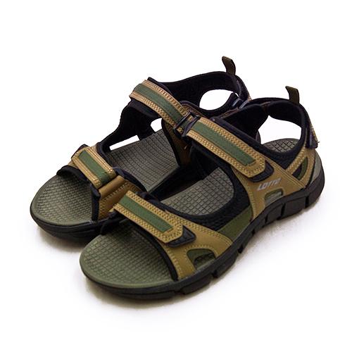 LIKA夢 LOTTO 輕量戶外健走運動涼鞋 都市輕履系列 棕綠黑 1683 男