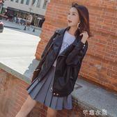 皮衣外套女新款潮皮夾克短款機車韓版寬鬆學生港風原宿風 千惠衣屋