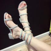 粗跟涼鞋 羅馬綁帶涼鞋女仙女粗跟一字帶中跟性感蛇形纏繞高跟鞋