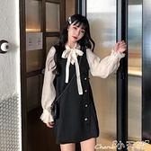 假兩件洋裝 法式溫柔風連身裙秋冬2021年新款設計感小眾蝴蝶結假兩件a字裙女 小天使