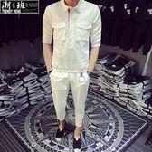 『潮段班』【HJ0TD109】日韓春夏新款 M-2L 紅白藍條紋設計 雙口袋五分襯衫上衣 七分九分褲休閒套裝