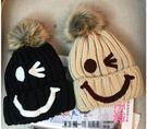 韓 毛帽 毛線 素色 針織帽 秋冬 毛絨絨 毛茸球 笑臉 印花 翻邊 翻沿帽 內裡加絨 加厚