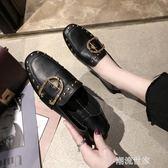 單鞋女2019春款英倫百搭平底淺口鉚釘方頭小皮鞋網紅方扣豆豆鞋『潮流世家』