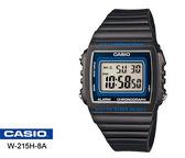 CASIO 繽紛夏日方形數字腕錶(黑-43*40mm)W-215H-8A