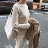 新款大容量極簡風字母單肩帆布包簡約手提女包純色托特包大包「夢娜麗莎精品館」