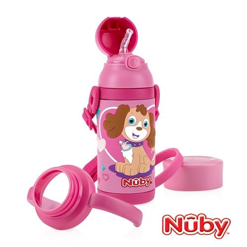 Nuby3D超輕量不鏽鋼真空學習杯-甜心犬 385ml