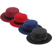 紳士帽 秋冬禮帽英倫風黑色平頂禮帽正韓爵士平檐毛呢寬檐男女帽子 快速出貨