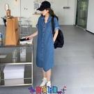牛仔洋裝 短袖洋裝韓版寬松短袖牛仔連身裙女夏季2021新款減齡顯瘦復古氣質襯衫裙子 寶貝計畫